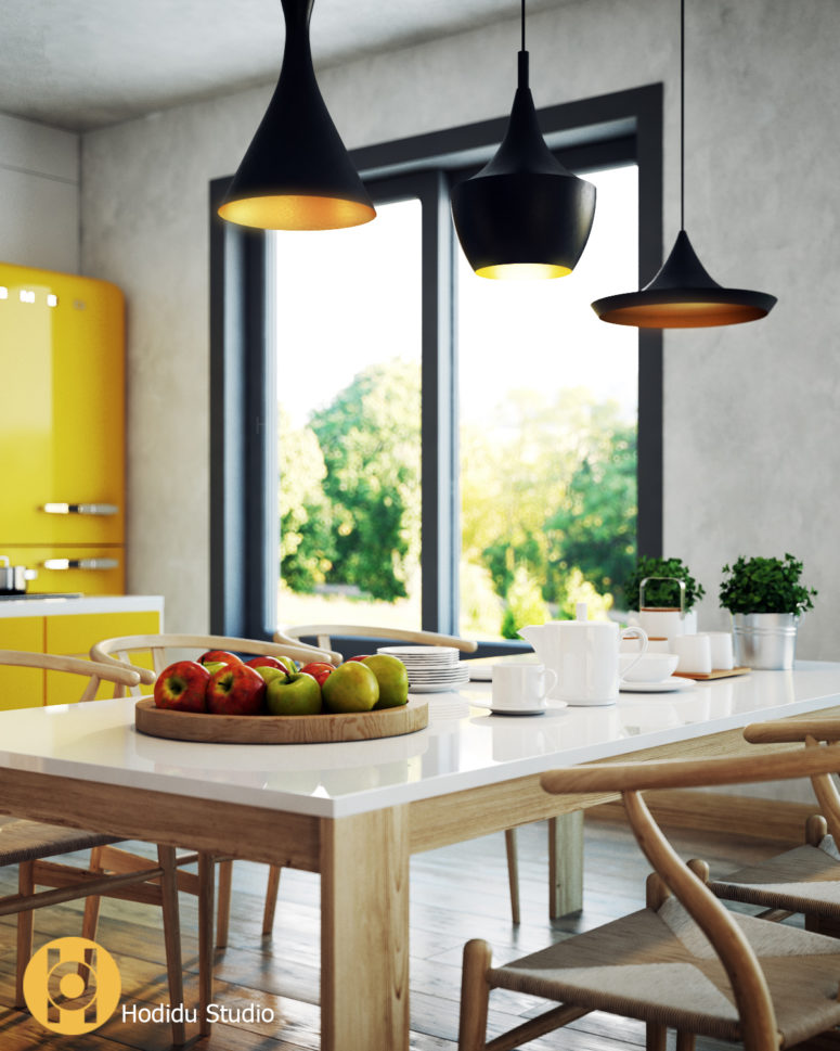 A floor to ceiling window brings light in and black lamps have sunny yellow inner sides to keep the color scheme