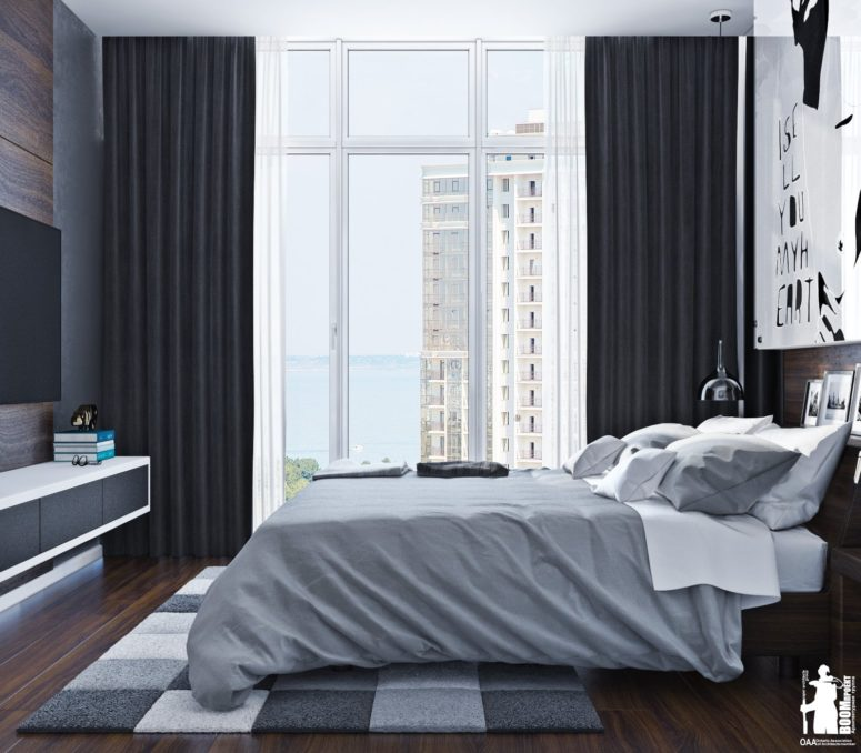 Modern Urban Bedroom Decor In Grey And White DigsDigs Fascinating Urban Bedroom