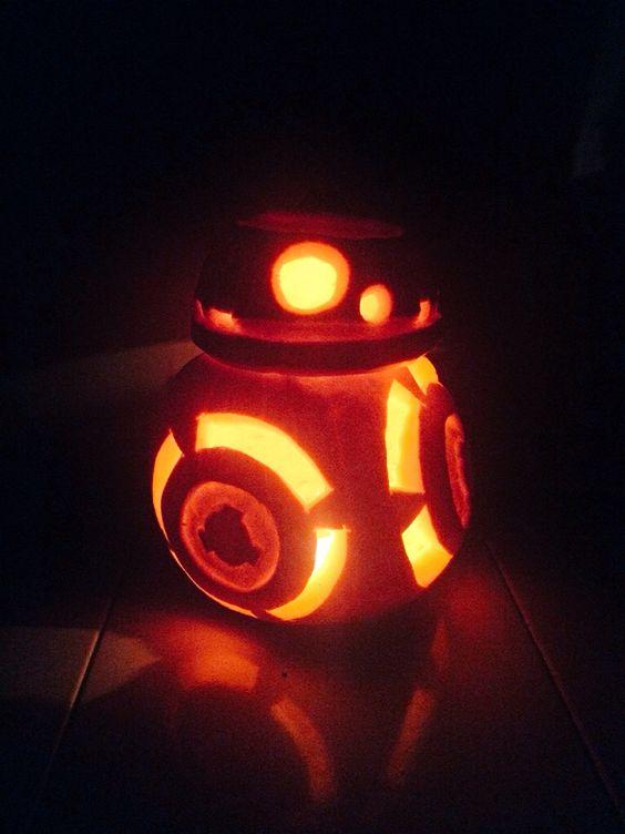 BB8 Halloween carved pumpkin