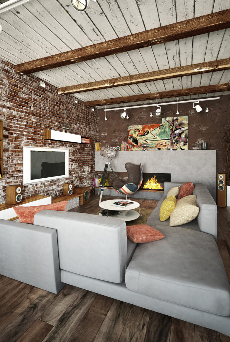 Exposed brick walls and concrete are softened with various kinds of wood