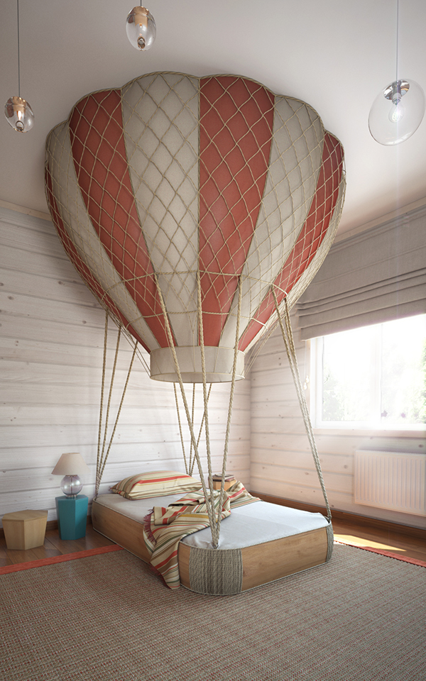 The centerpiece is the sleeping area with a gorgeous hot air balloon bed