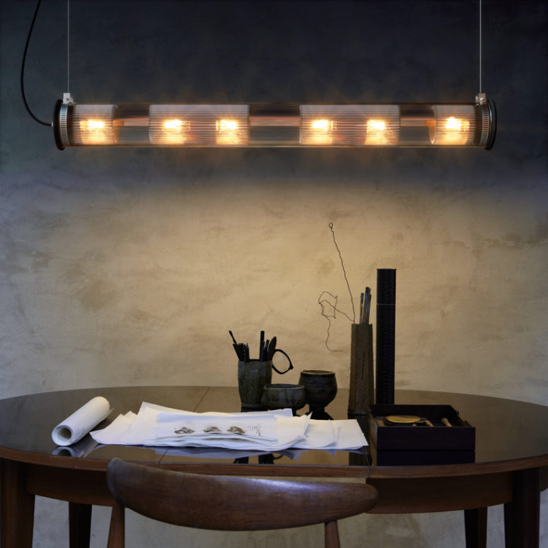 The lamp collection comes in several lengths, diameters, and colors
