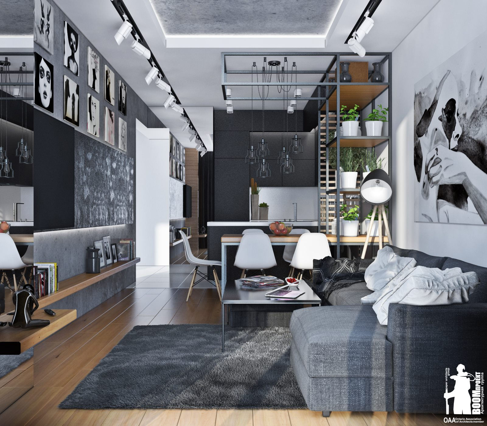 The space is decorated in modern laconic style with light industrial touches