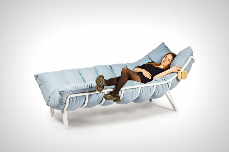 This is a steel frame chaise lounge, which you can soften with a corresponding duvet