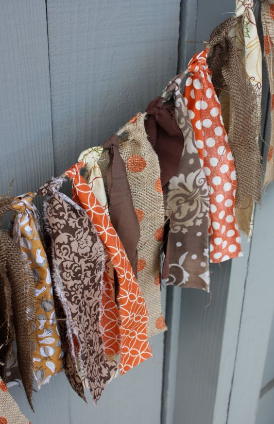 burlap and bold orange fabric bunting