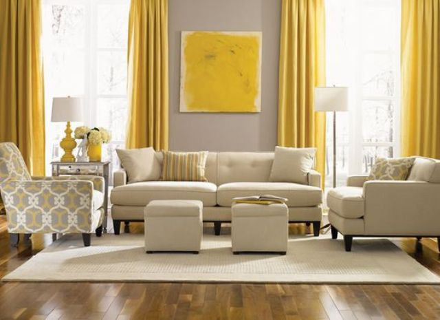 Beau Dove Grey Wall Contrasts With Sunny Yellow Curtains And An Artwork, The Room  Is Infused