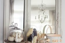 02 mantel with white pumpkins, vintage framed mirrors and corn in cloches