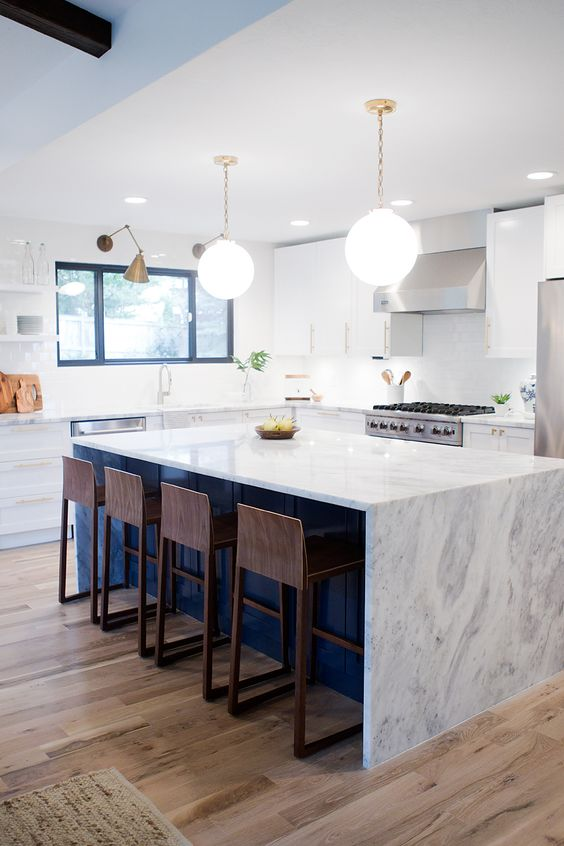 Mid Century Modern Kitchen Reveal With A Clean Pristine Marble Countertop