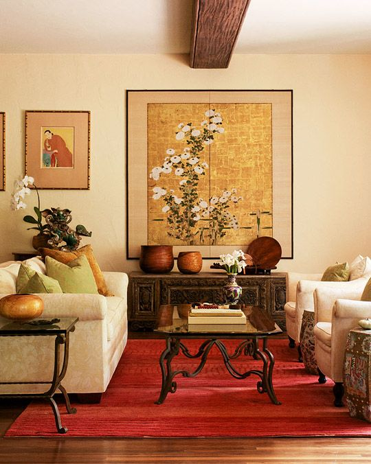 traditional refined living room with buttemilk-colored walls