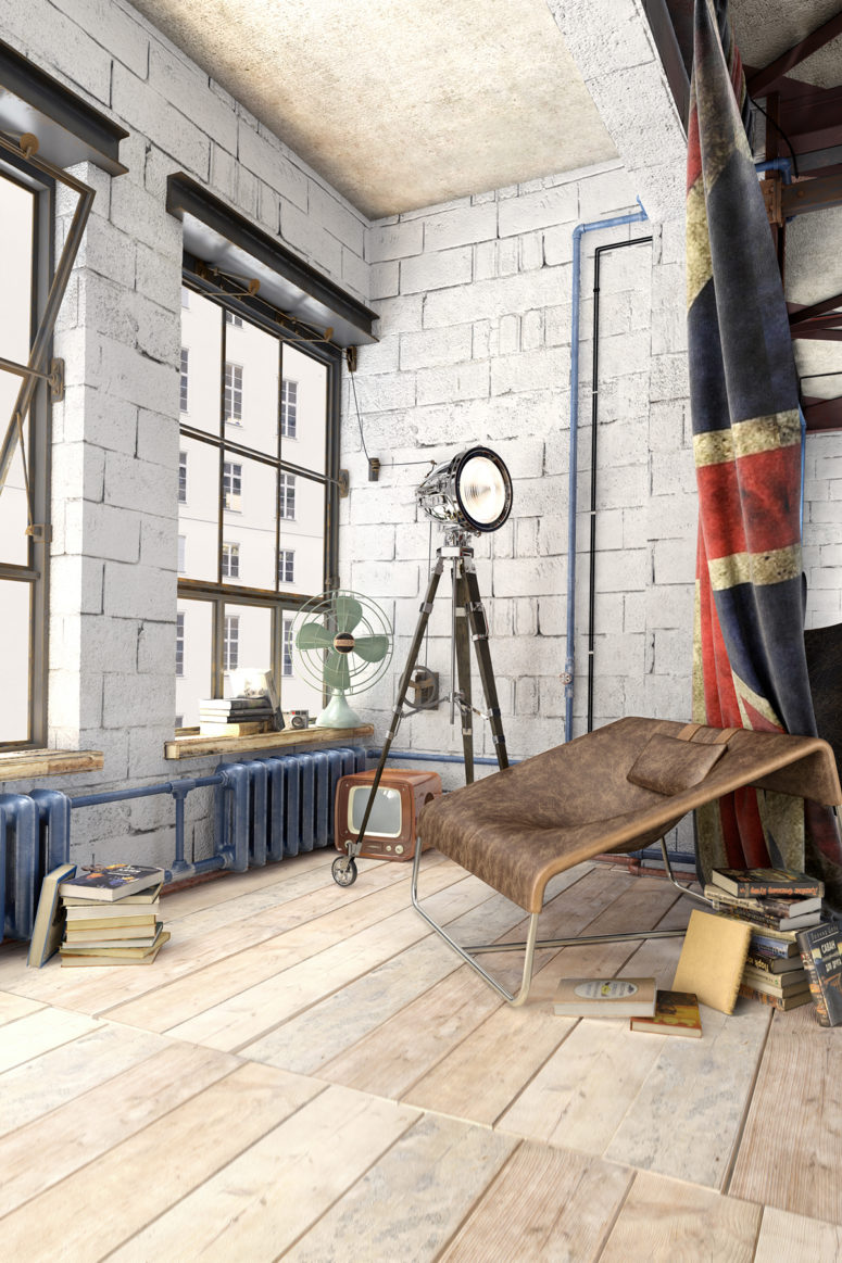Industrial loft design with a strong masculine feel and character ...