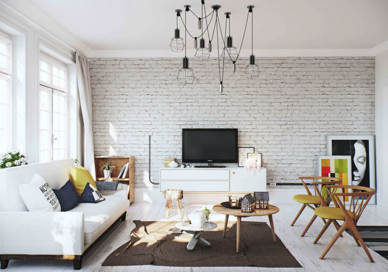 A whitewashed brick wall and black wire lamps add a cool industrial touch to the space