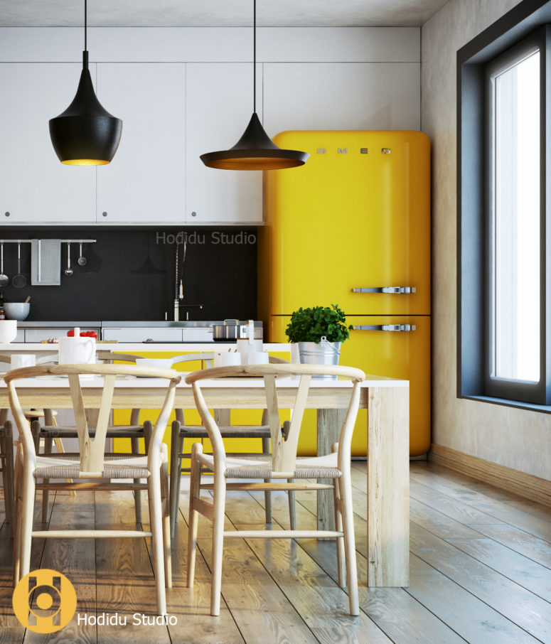 Cozy modern kitchen with sunny yellow touches digsdigs Kitchen design yellow and white
