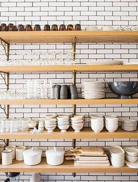 Open shelving is ideal for storage