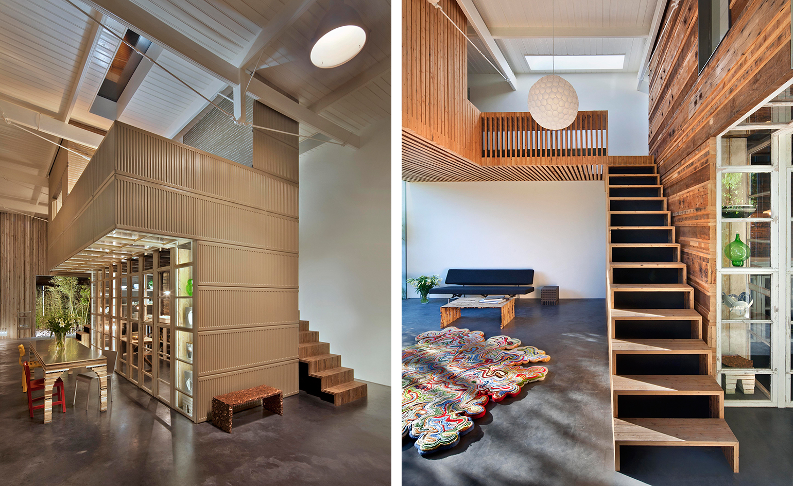 The interiors are really sculptural ones, which gives special look to the decor