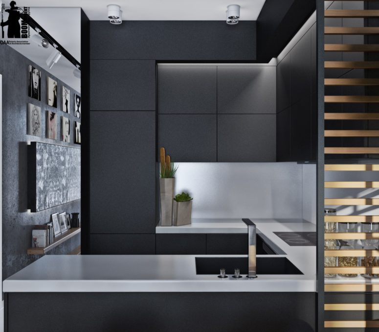 Laconic grey and black kitchen united with a living space for Flat black kitchen cabinets
