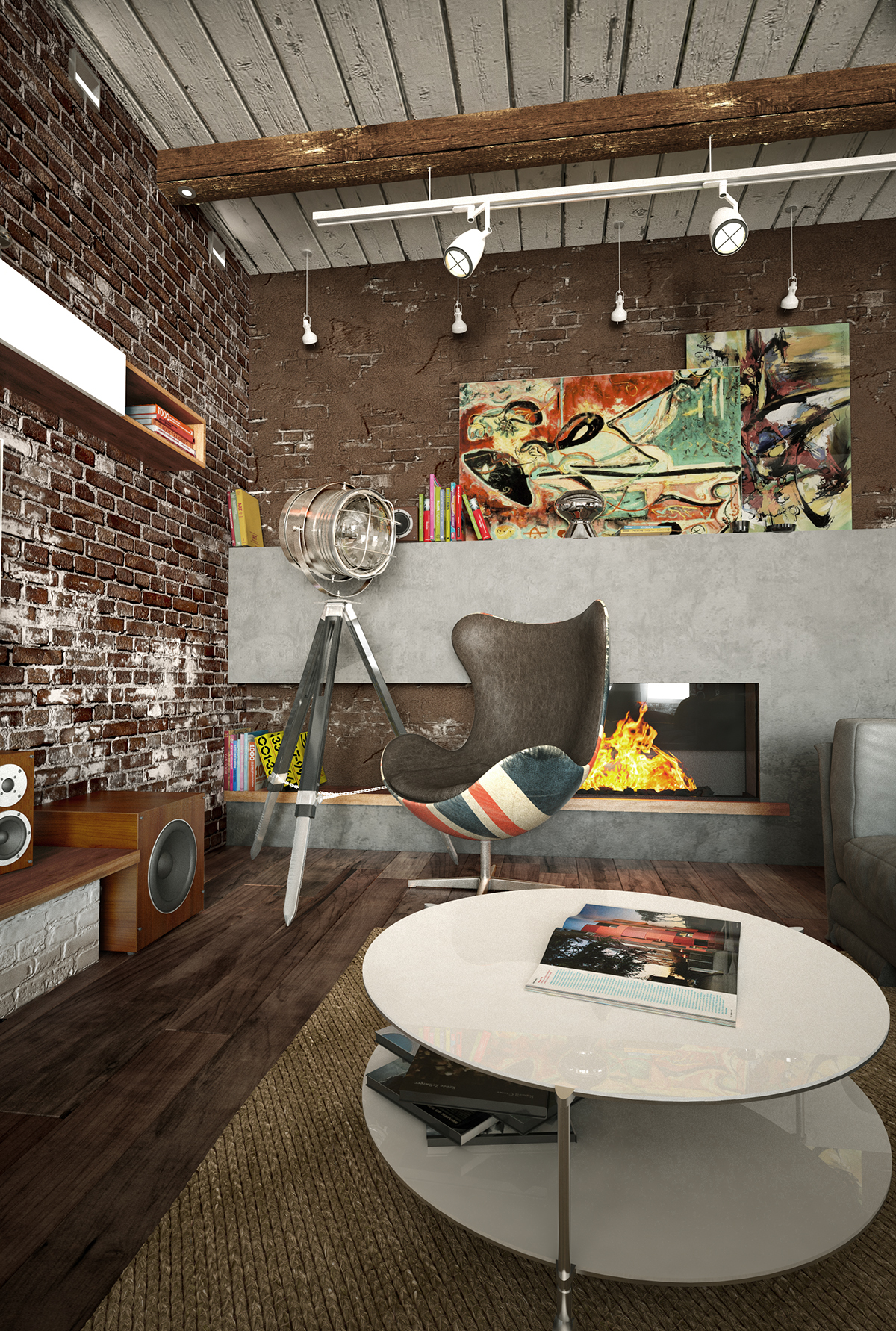 There's a concrete fireplace wall and a cool British inspired chair