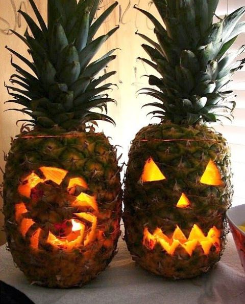 cut pineapple lanterns instead of pumpkins