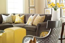 03 elegant mix of charcoal grey and bold yellow furniture, artworks and accessories
