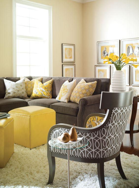 Dark Living Room Ideas: 29 Stylish Grey And Yellow Living Room Décor Ideas