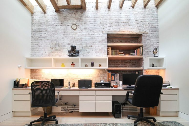 Charming Uneven Whitewashed Brick Wall For A Modern Shared Home Office
