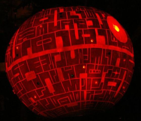 Death Star pumpkin lantern