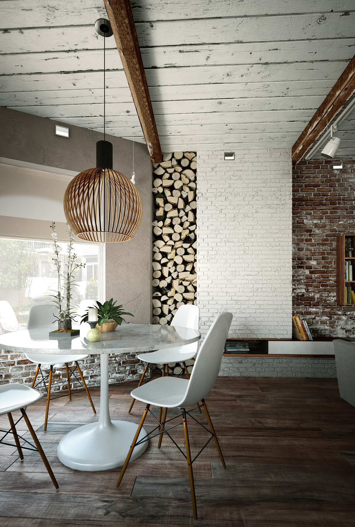 Firewood stacked in the wall makes the dining area cozier