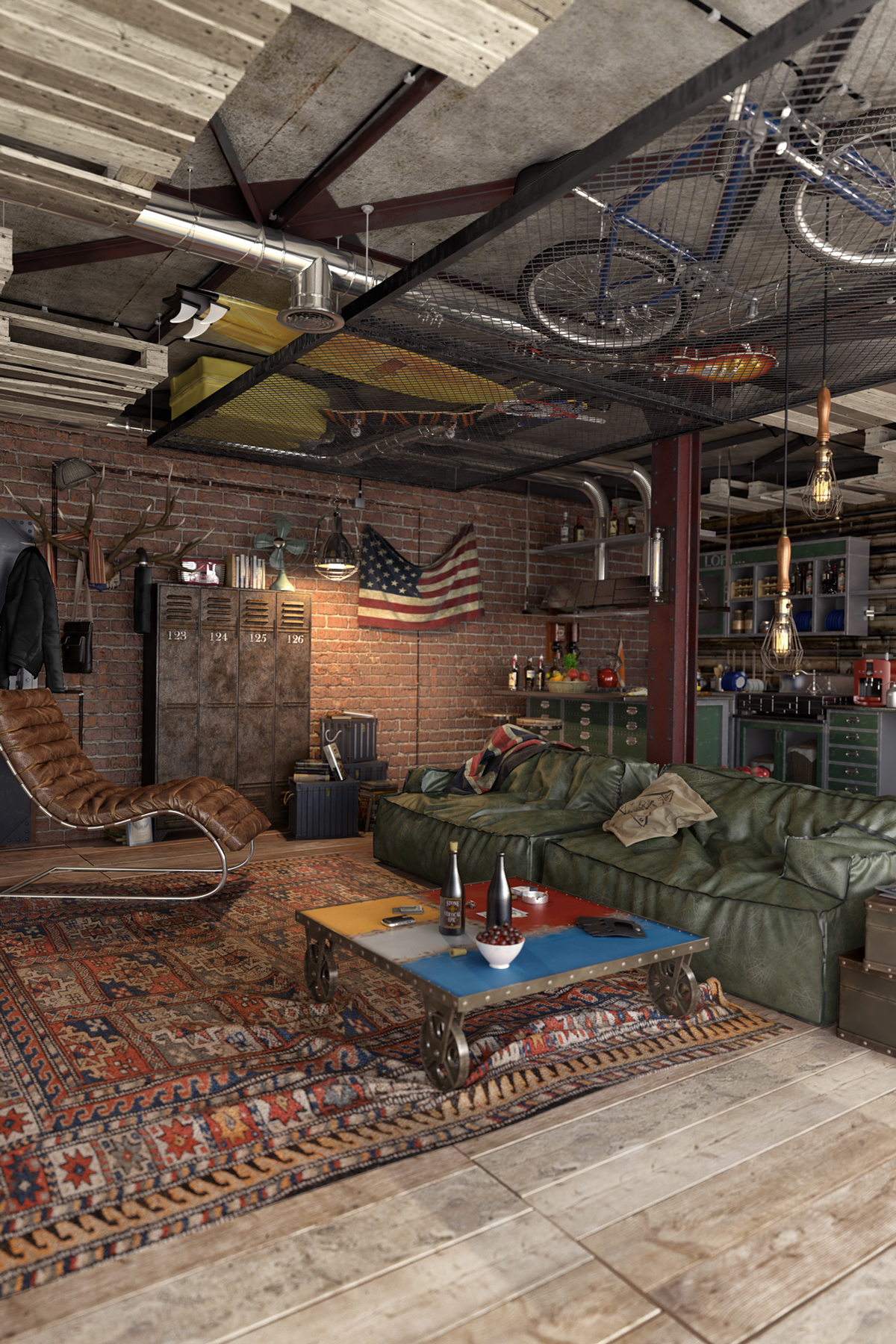 Leather, aged metal and weathered wood are widely used throughout the apartment