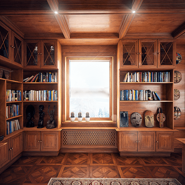 The shelves and cabinets cover all the walls in the home office