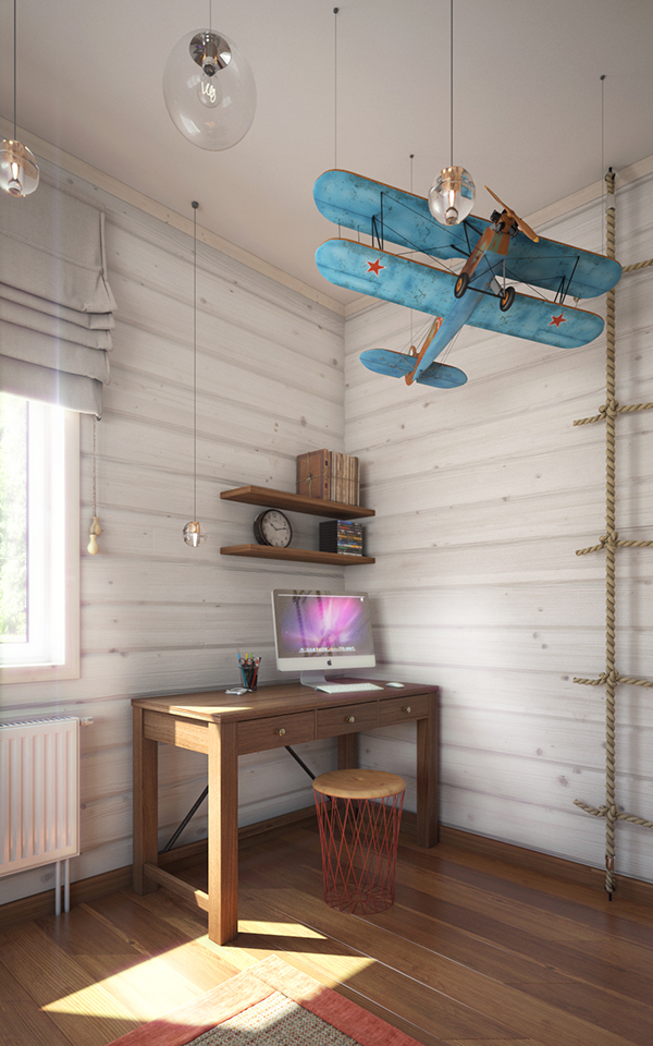 The study nook boasts of a small simple desk, open shelving and a vintage blue plane hanging over it