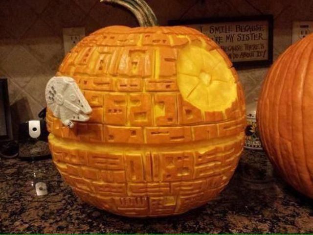 brilliantly carved Death Star pumpkin