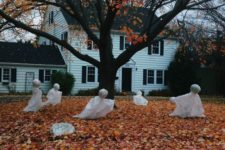04 fabric and foam ghosts in the front yard