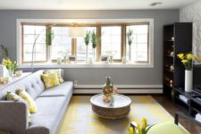 04 modern dove grey living room infused with bold yellow details looks refreshing