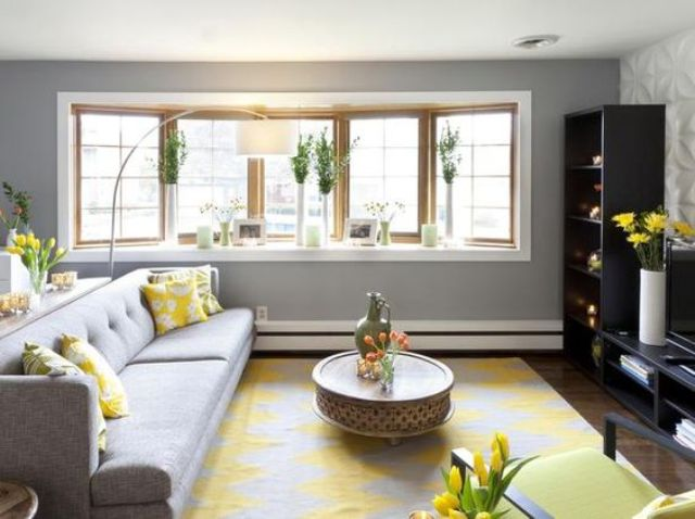 Modern Dove Grey Living Room Infused With Bold Yellow Details Looks  Refreshing