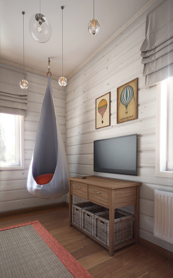 Air is the main theme of this room's decor, and even the artworks are dedicated to hot air balloons