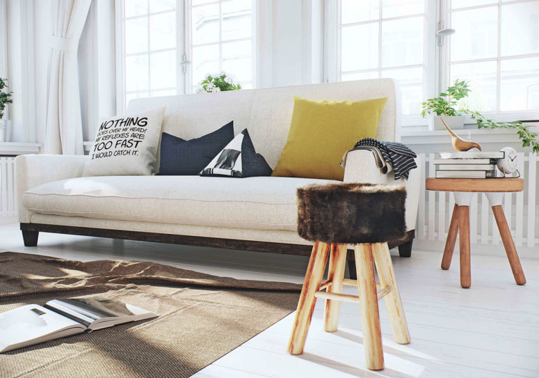 I Love the fur covered stool, which makes the room cozier and comfier