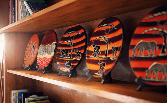 The artworks and ceramics are in African style