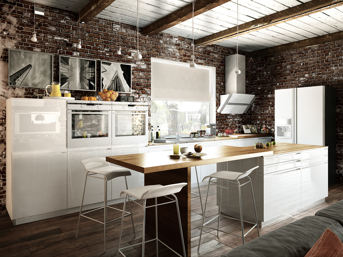 The kitchen is modern and even minimalist, the cabinets are white with light wood countertops