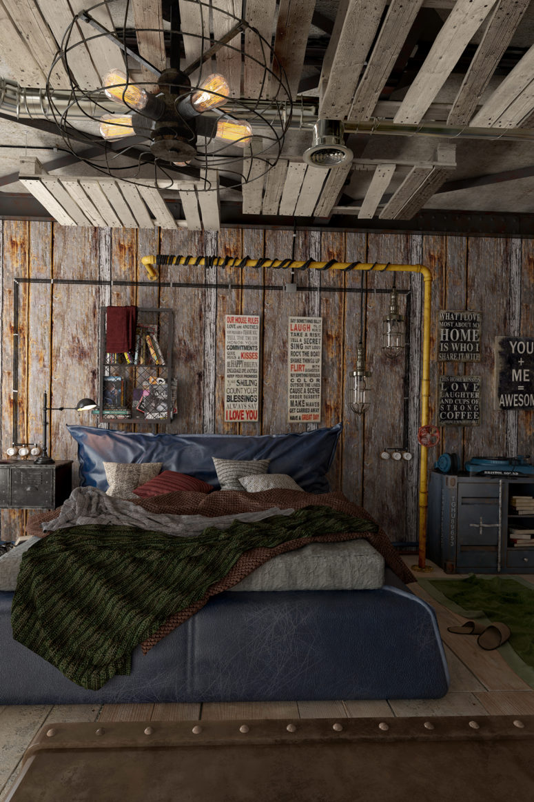 Industrial Loft Design With A Strong Masculine Feel And