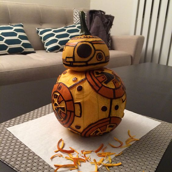 carved and painted BB 8 pumpkin from the last episode of Star Wars