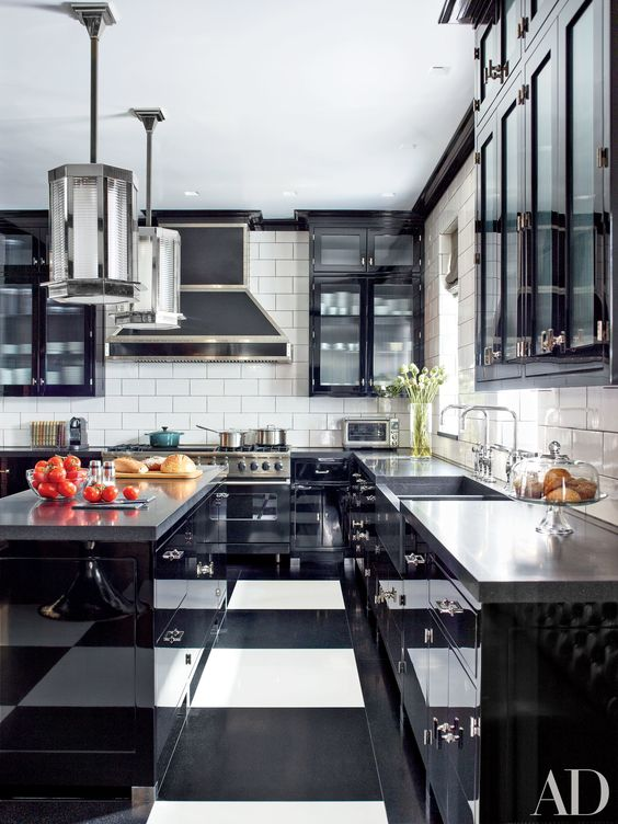 elegant black and white kitchen with art deco and retro touches