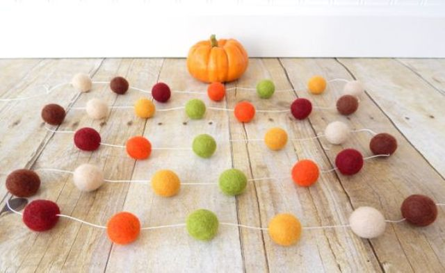 felt balls in fall colors for cheerful garlands