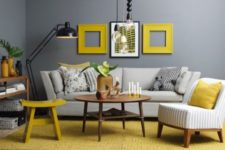05 gunmetal grey contrasts with yellow frames, a rug and a stool