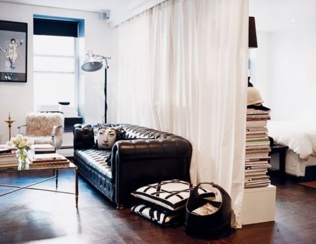 25 ways to use curtains as space dividers digsdigs - Ways to divide a room ...