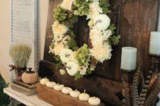 05 pheasant feathers, white pumpkins, white silk wreath and barn door fall decor