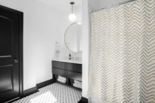 06 Another bathroom shows up two different prints for a chic look – polka dot and chevron
