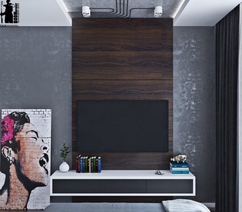 Concrete And Dark Plywood Are Used As Contrasting Finishes In The Bedroom