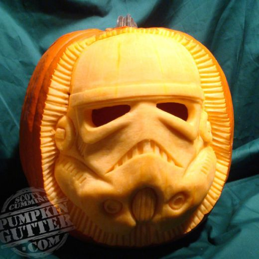 Stormtrooper pumpkin carving which can be used as a lantern