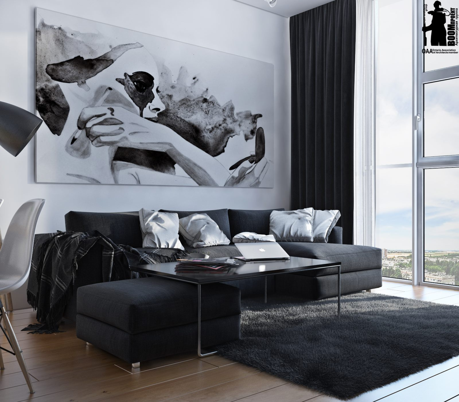 The living space has a large sectional sofa, an oversized artwork and floor to ceiling windows