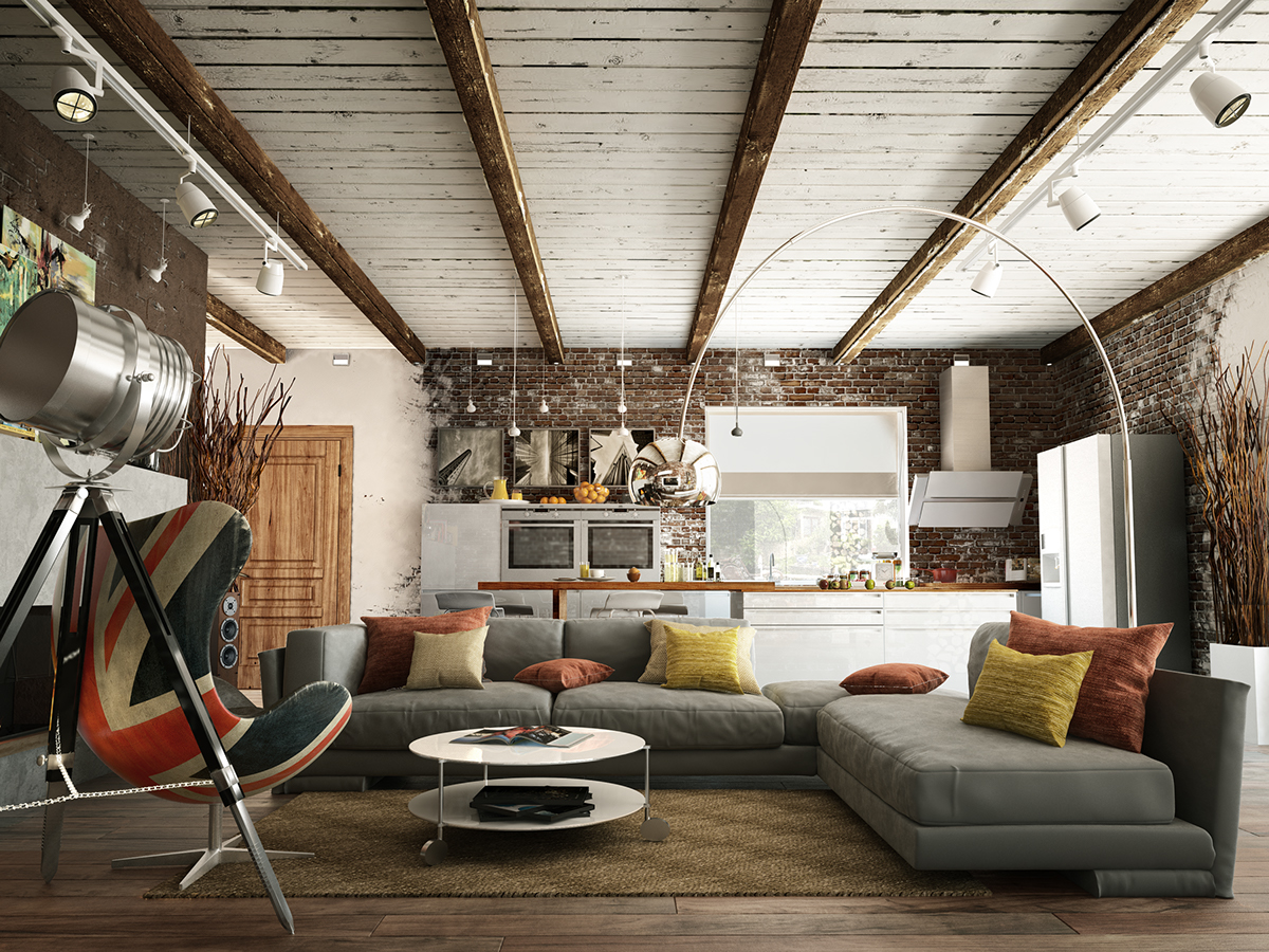 Uniting the living room and kitchen makes usage of every inch of space