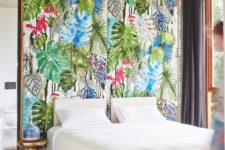 06 bold tropical fabric wall for a bedroom